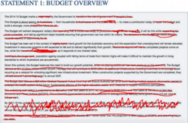 budget paper edits