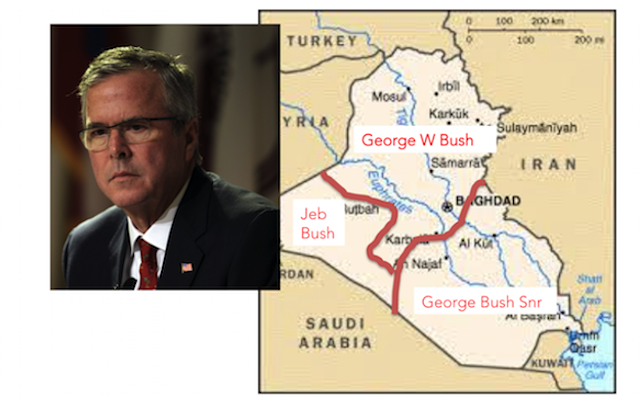 Iraq map Bush family