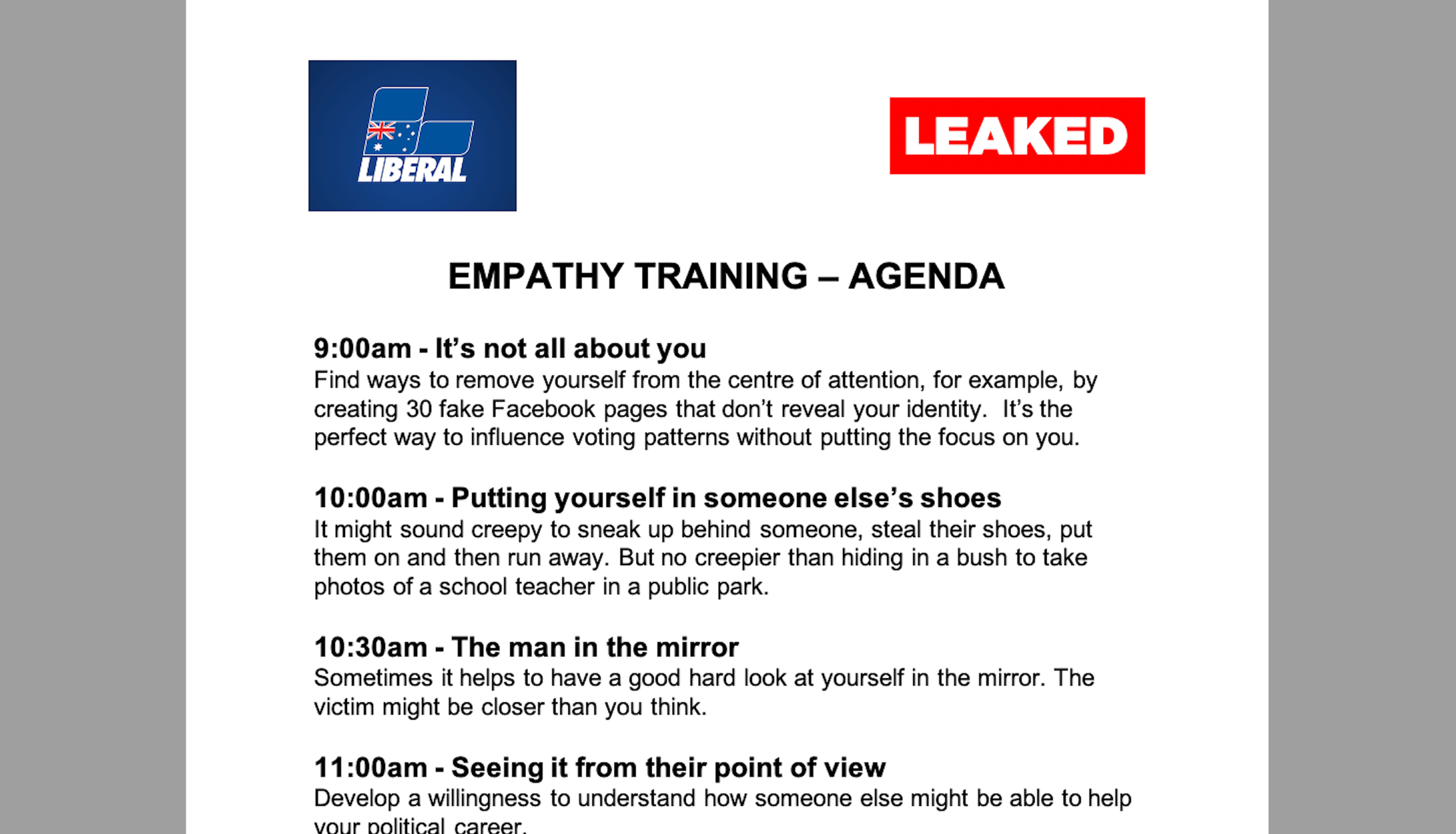We've Received A Leaked Copy Of The Liberal Party's Empathy Training Program